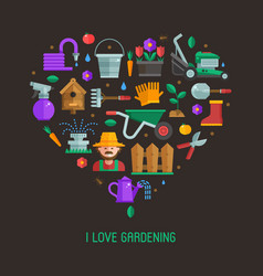 I love gardening card vector