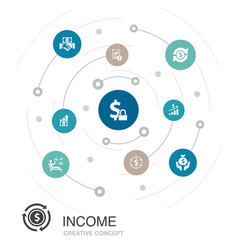 Income colored circle concept with simple icons vector