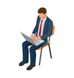 Isometric businessman isolated on write creating vector