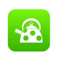 kettle with white dots icon digital green vector image