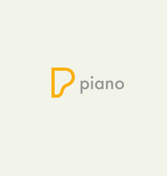 linear icon logo letter p and piano for company vector image