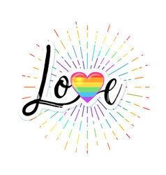 love hand drawn lettering with rainbow colored vector image