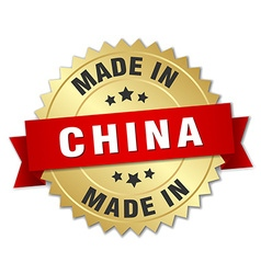 Made in China gold badge with red ribbon vector