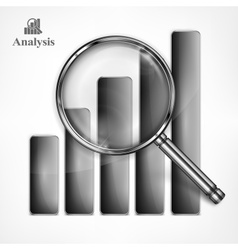 Magnifying glass and chart vector image vector image
