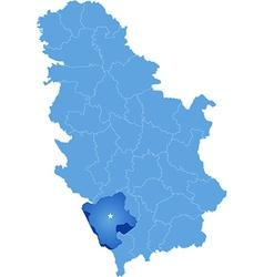 Map of Serbia Subdivision Pec District vector