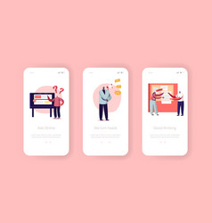 Marketing agency mobile app page onboard screen vector