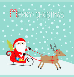 merry christmas santa claus sleigh fir tree vector image