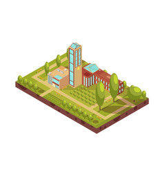 Modern university building isometric layout vector