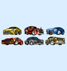 muscle cars and vintage transports for logo and vector image