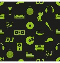 Music club dj icons dark seamless pattern eps10 vector