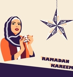 Muslim woman with cup of coffee during iftar vector