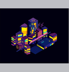 night city icometric landscape modern vector image