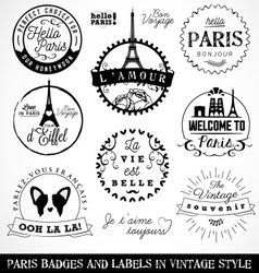 Paris Badges and Labels in Vintage Style vector image