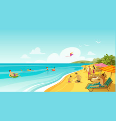 People rest on sea beach vacation travel banner vector