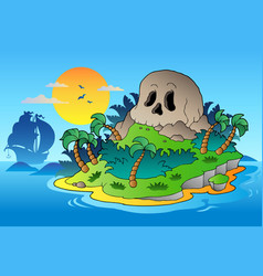 Pirate skull island with ship vector
