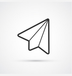 plane flat line black trendy icon eps10 vector image