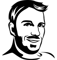 portrait of young man - black outline vector image