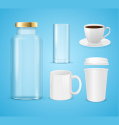 Realistic cup can and bottle set for liquid vector