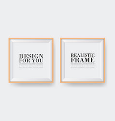 realistic wooden frame two photo frames mock-up vector image