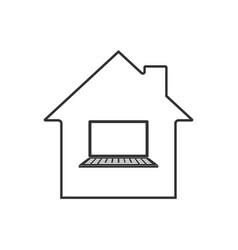 Remote work icon home office vector