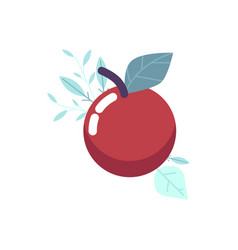 ripe red apple with green leaf vector image