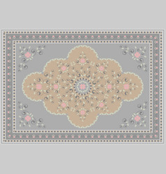 Rug floral design in gray and beige shades vector