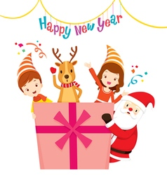 Santa Reindeer Girl And Boy With Gift Box vector image