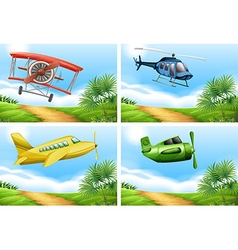 Scenes with airplanes in the sky vector