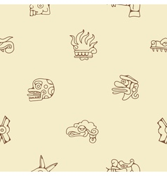 Seamless background with aztec calendar day glyphs vector