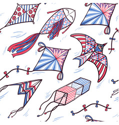 Seamless pattern of sketch doodle style kites vector