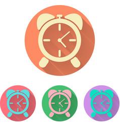 set alarm clock icon with shadow vector image