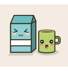 set cartoon breakfast milk mug design vector image