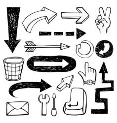 Set doodle arrows vector