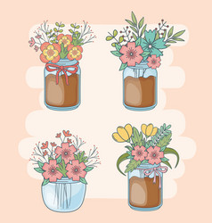 Set mason jars with floral decorations vector