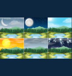 set nature landscape different climate vector image