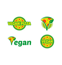 set vegan pizza logo vector image
