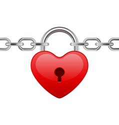 Shiny heart lock on chain vector