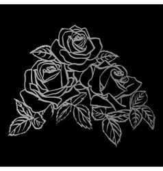 Silver rose sketch vector