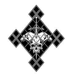 skull sword rhombus vector image