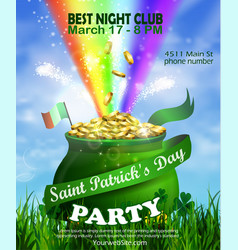 St patrick s day poster design template vector