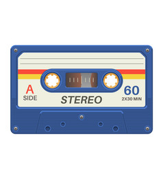 Stereo cassette retro audio tape with music vector
