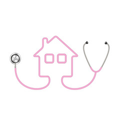 Stethoscope in shape of house in pink design vector
