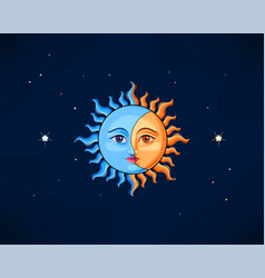 Sun and moon in vintage style vector