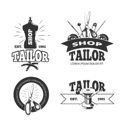 Tailor shop labels badges logos emblems vector