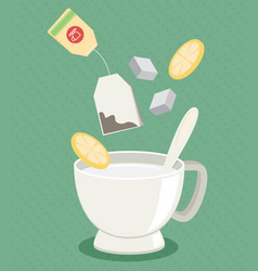 Tea cup with sugar and lemon flat vector