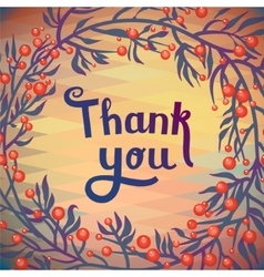 THANK YOU floral card with geometric pattern vector