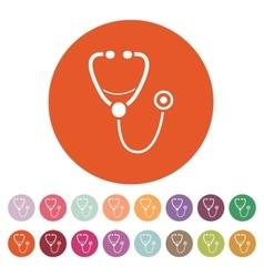 The phonendoscope icon Stethoscope symbol Flat vector image