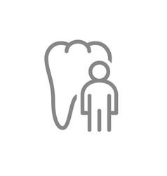 tooth with man line icon healthy organ in oral vector image