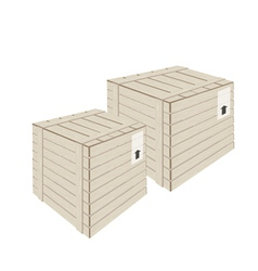 Two Wooden Cargo Box on White Background vector image