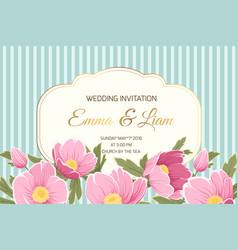 Wedding invitation anemone hellebore pink flowers vector